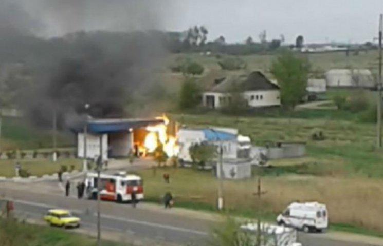 Как горела АЗС в Джанкое перед многоэтажкой (ВИДЕО)