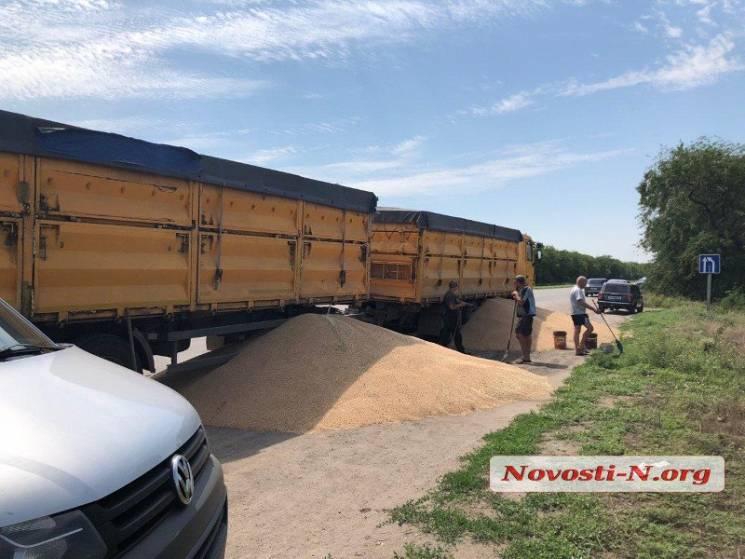 Під Миколаєвом прямо на дорогу висипали десятки тонн зерна (ФОТО, ВІДЕО)