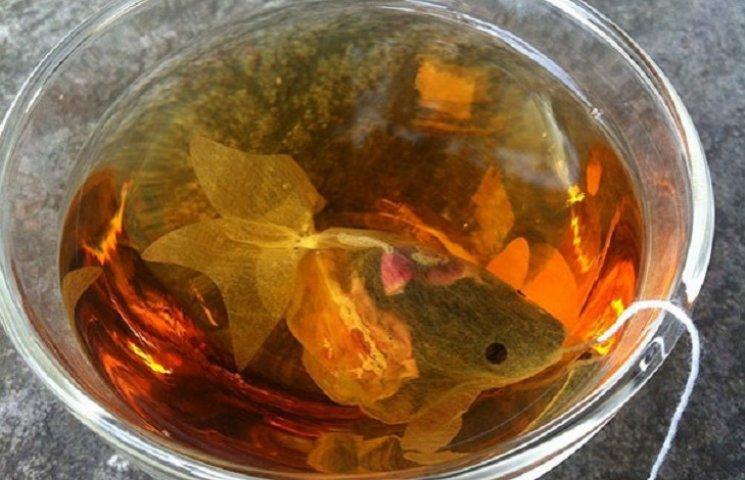Как выглядят пакетики чая в виде золотых рыбок