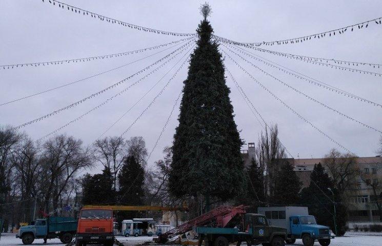 """В Днипре новогоднюю елку в парке Глобы оставили стоять с """"голыми ногами"""""""