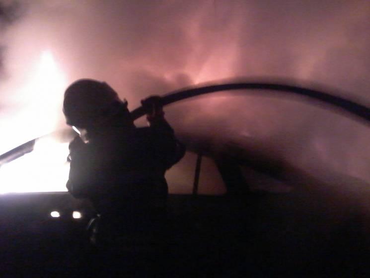 На Херсонщині вщент згорів Mercedes (ФОТО)
