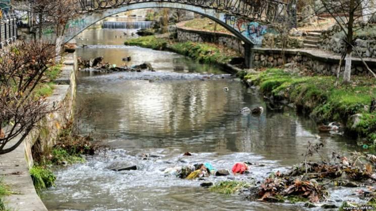 Головна річка столиці окупованого Криму потопає у смітті (ФОТО)