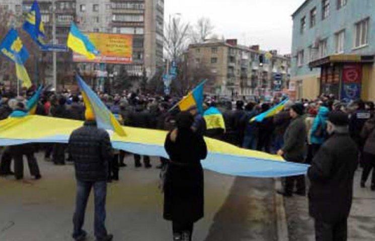 В Краматорске митингуют сторонники и противники мобилизации