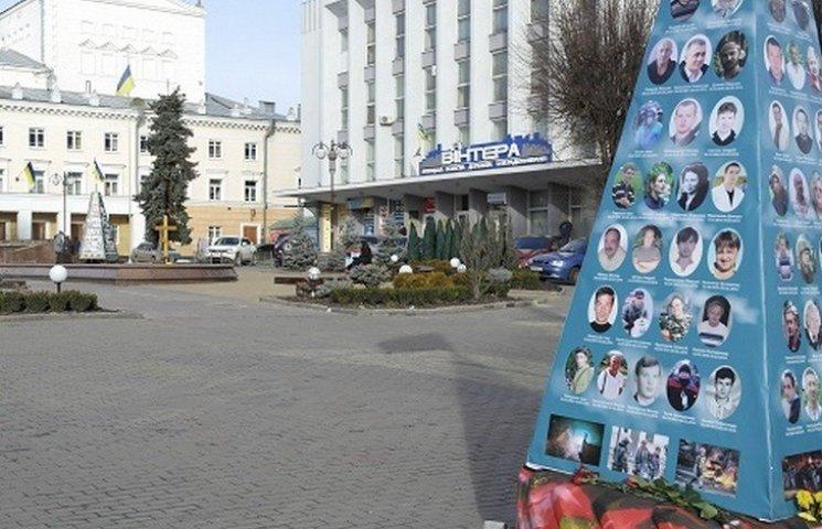 """В центрі Вінниці встановили ще одну """"ялинку"""" з фотографіями"""