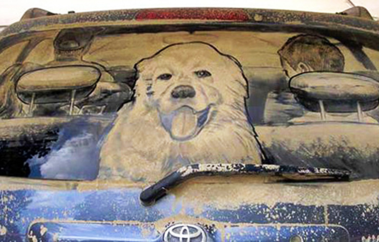 Рисунки на грязном авто своими руками