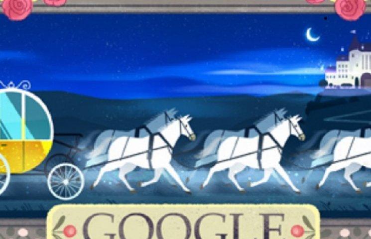 Google поздравил Шарля Перро ярким дудлом с Золушкой