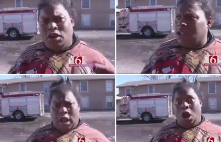 Чорношкіра жінка, яка емоційно відреагувала на пожежу, підірвала мережу