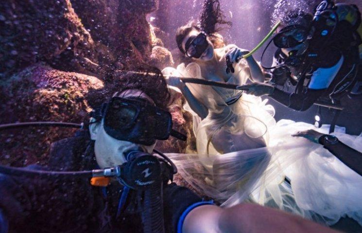 Как фотограф приказал моделям нырять в роскошных платьях под воду ради акул
