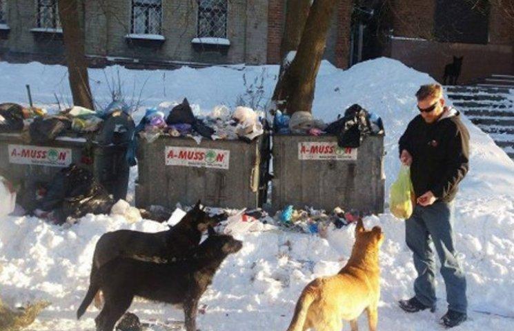 Американець рятує сумських собак сосисками