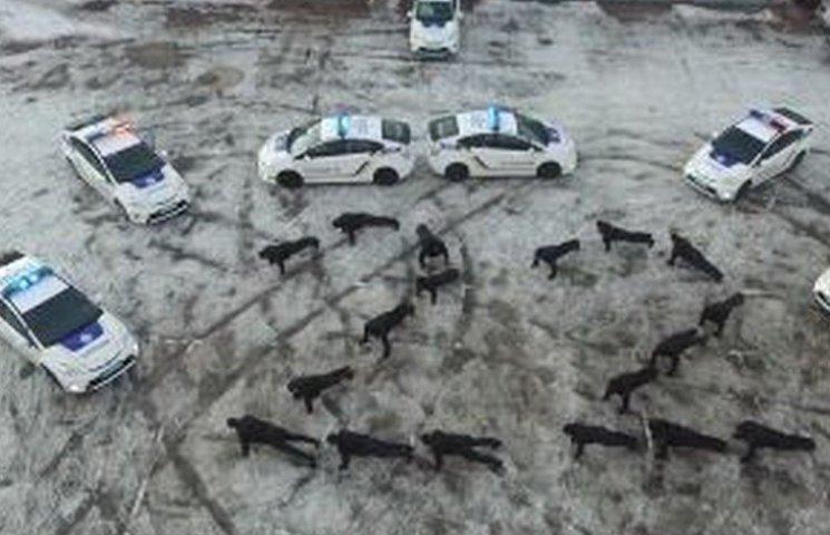 Криворізькі патрульні виклали тілами цифру 22