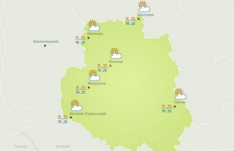 Вінниця: прогноз погоди на сьогодні