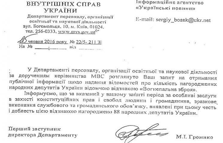 Аваков нагородив 88 нардепів вогнепальною зброєю
