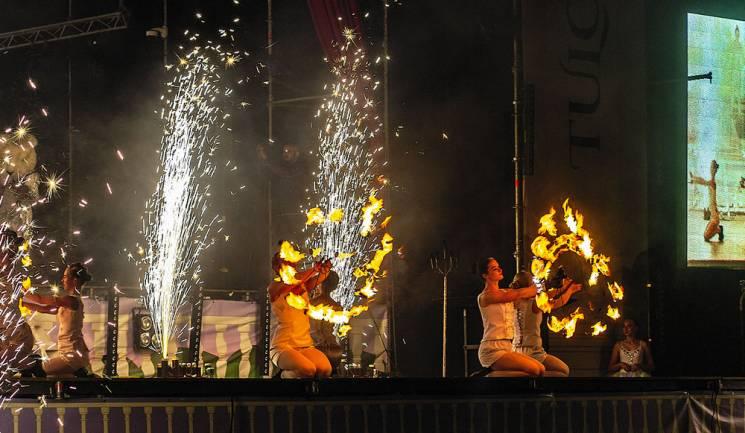 Вогні біля палацу на Вінниччині: Гостей опера-фесту вразили неймовірним фаєр-шоу (ФОТО)