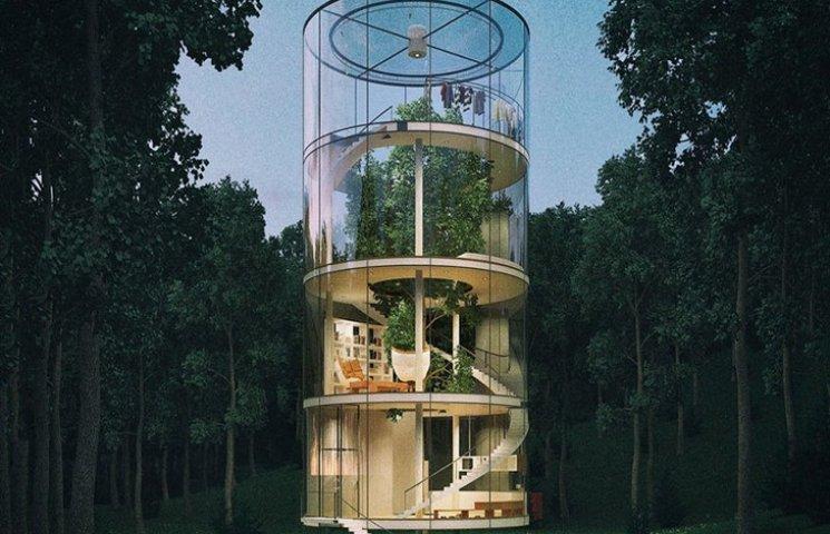 В Казахстані вигадали нереальний скляний будинок у вигляді труби навколо дерева