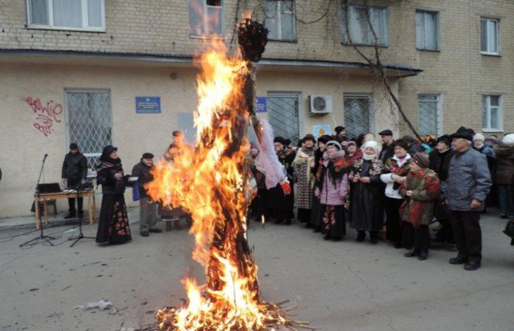 В центрі Мелітополя спалили опудало