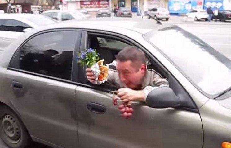 У Дніпропетровську водій-наркоман агресивно дарував поліцейським квіти