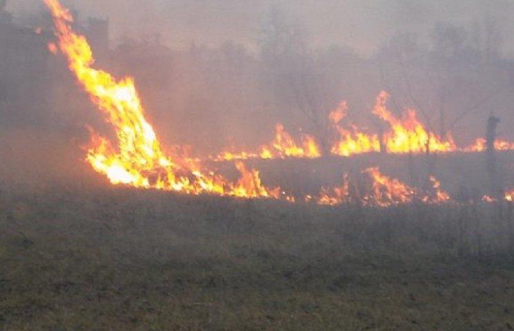 На Кам`янеччині пожежники дві години гасили підпалену суху траву