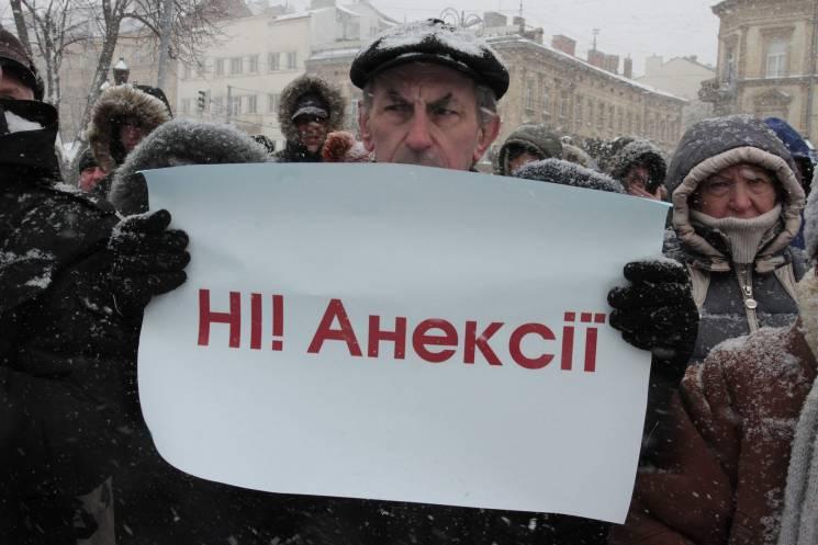 Як у Львові протестували проти виборів Путіна в Криму (ФОТОРЕПОРТАЖ)