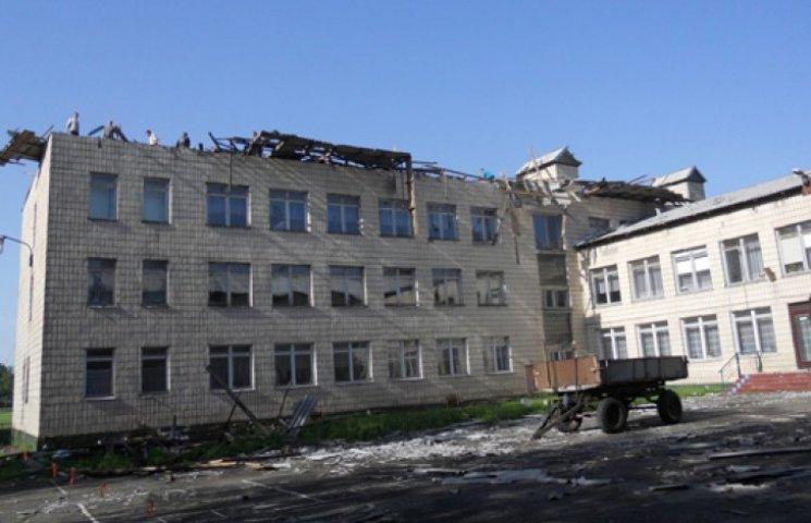 Под Киевом ураган сорвал крышу школы и выбил 50 окон