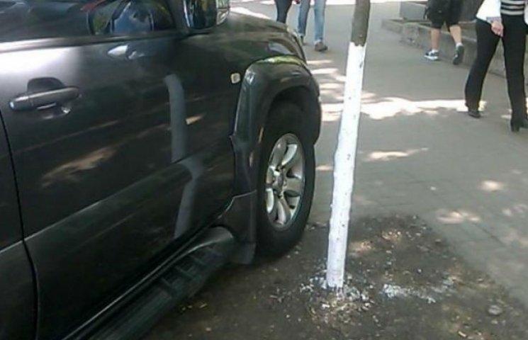 Паркуюсь, як свиня: джип заїхав під дерево (ФОТОФАКТ)
