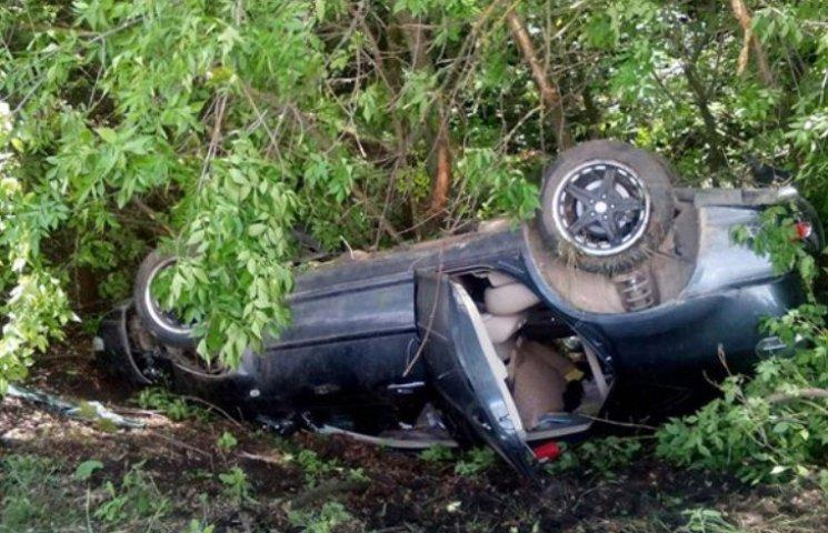 На Миколаївщині Lexus злетів у кювет та перевернувся