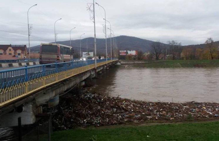У Мукачеві сильна течія Латориці принесла купи сміття