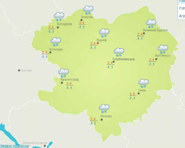 На Харківщині очкується сніг та нічні за…