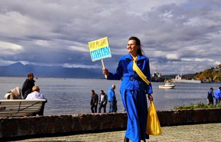 На Камчатці на Марш миру вийшла тільки одна хоробра жінка з табличкою