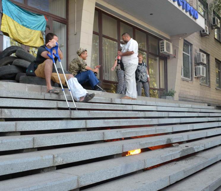 Возмущенные бойцы АТО требуют увольнения руководителя Госгеокадастра вЗапорожье