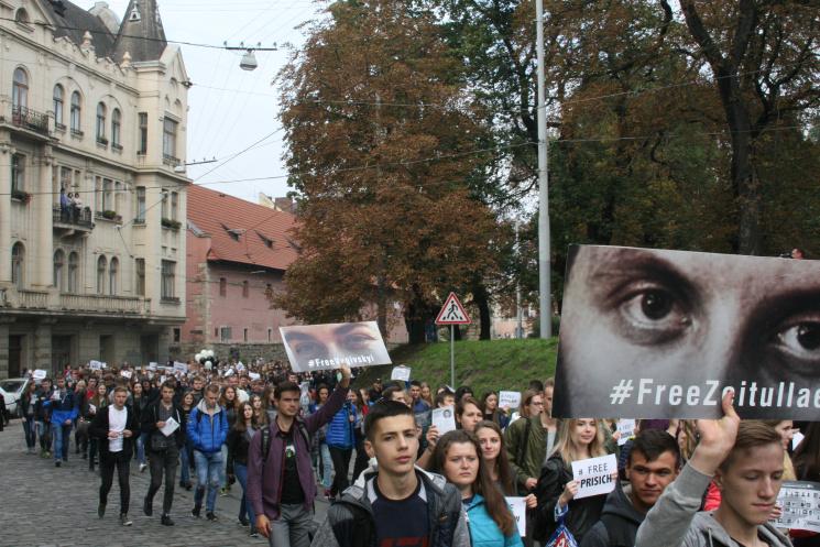 Як у Львові пройшла хода солідарності з в'язнями Кремля (ФОТОРЕПОРТАЖ)